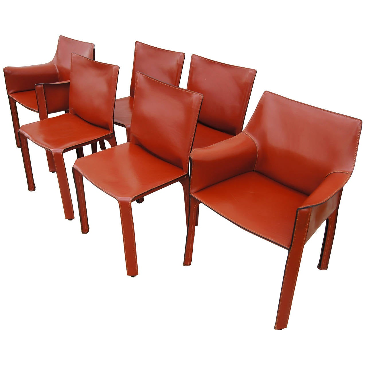 Set Of Six CAB 412 And 413 Dining Chairs By Mario Bellini