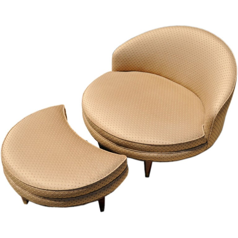 1950s Round Slipper Chair and Ottoman