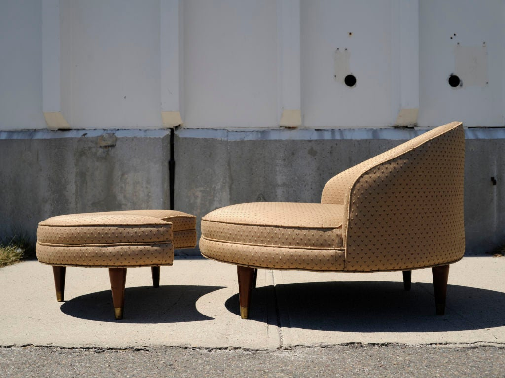 1950s Round Slipper Chair And Ottoman At 1stdibs