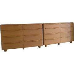 Pair of Champagne Encore Double Dressers by Heywood Wakefield