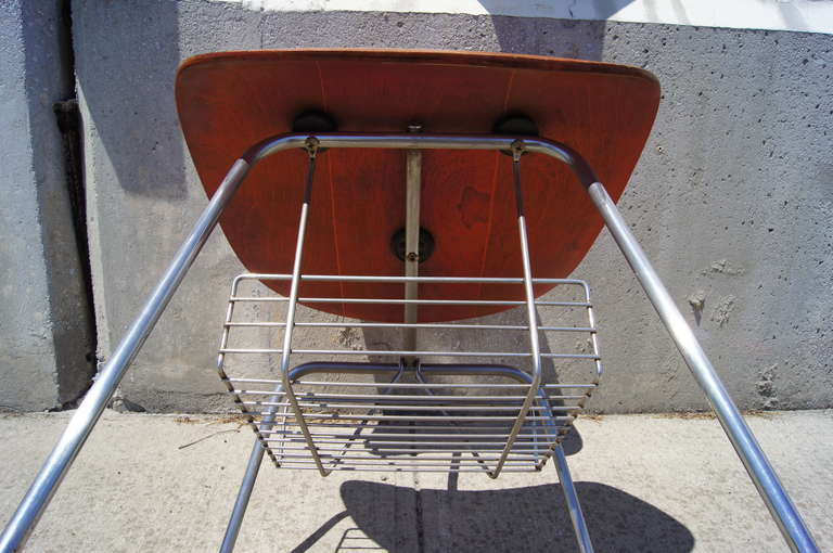 Chrome Rare DCM Side Chair with Magazine Rack by Charles & Ray Eames for Herman Miller For Sale