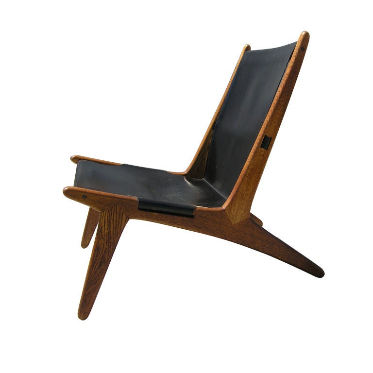 Oiled Oak and Leather Lounge Chair by Osten Kristiansson at 1stdibs