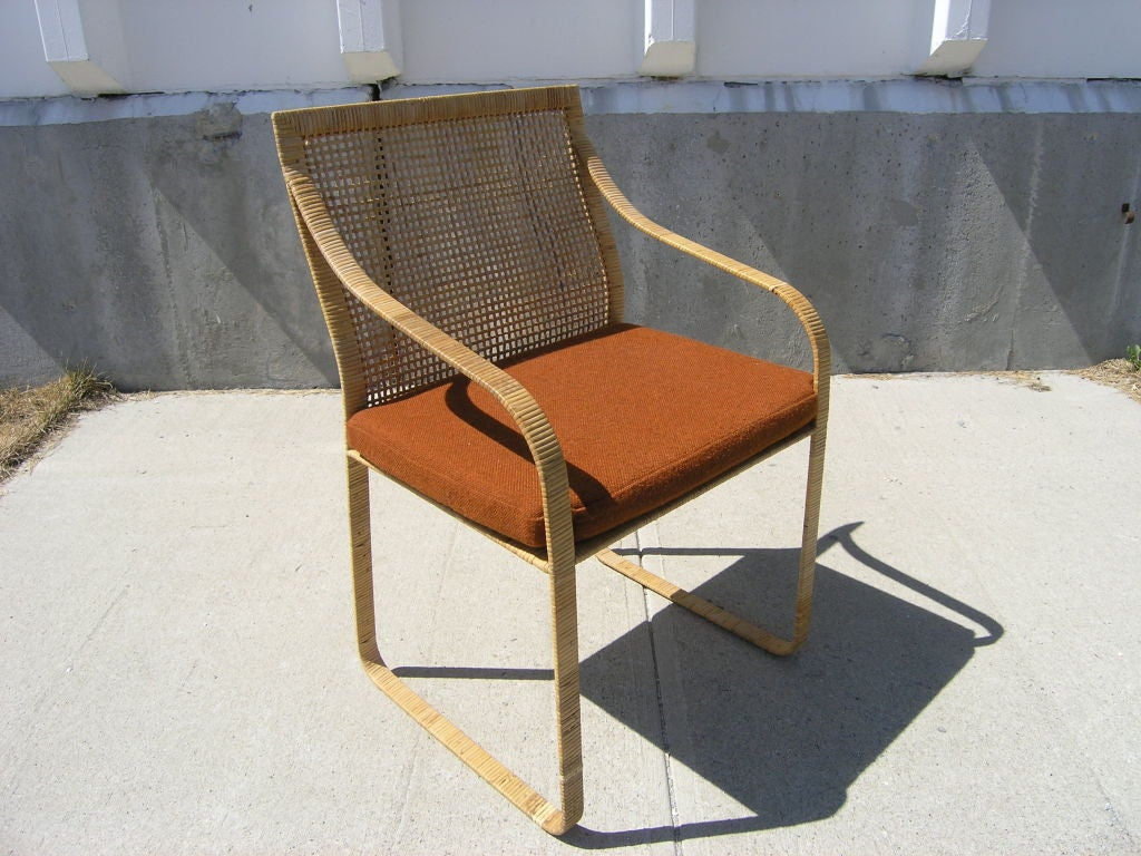 set of six hand woven rattan dining chairs by harvey probber 2