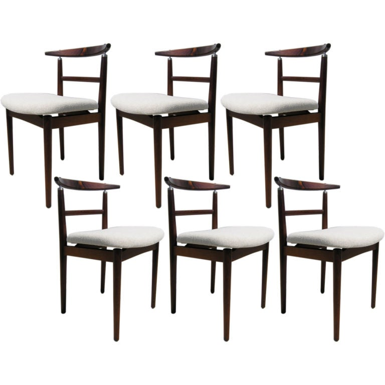 Six rosewood dining chairs by arne vodder at 1stdibs - Rosewood dining room furniture ...