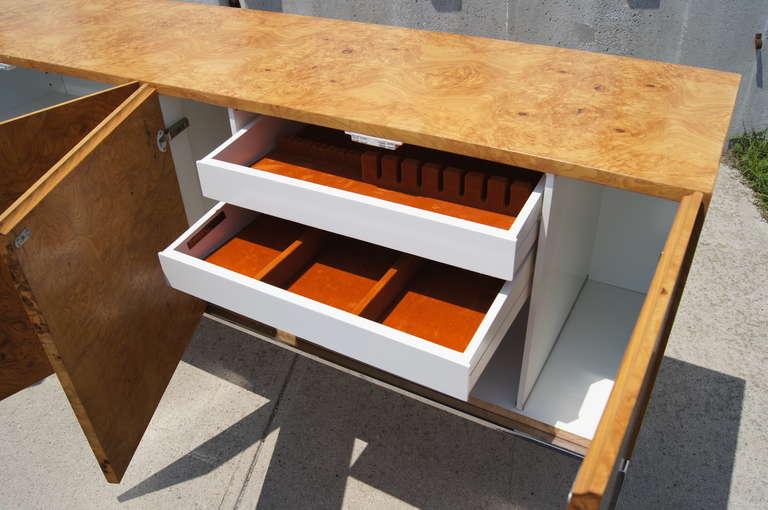 Chrome Burlwood Sideboard by Milo Baughman for Thayer Coggin For Sale