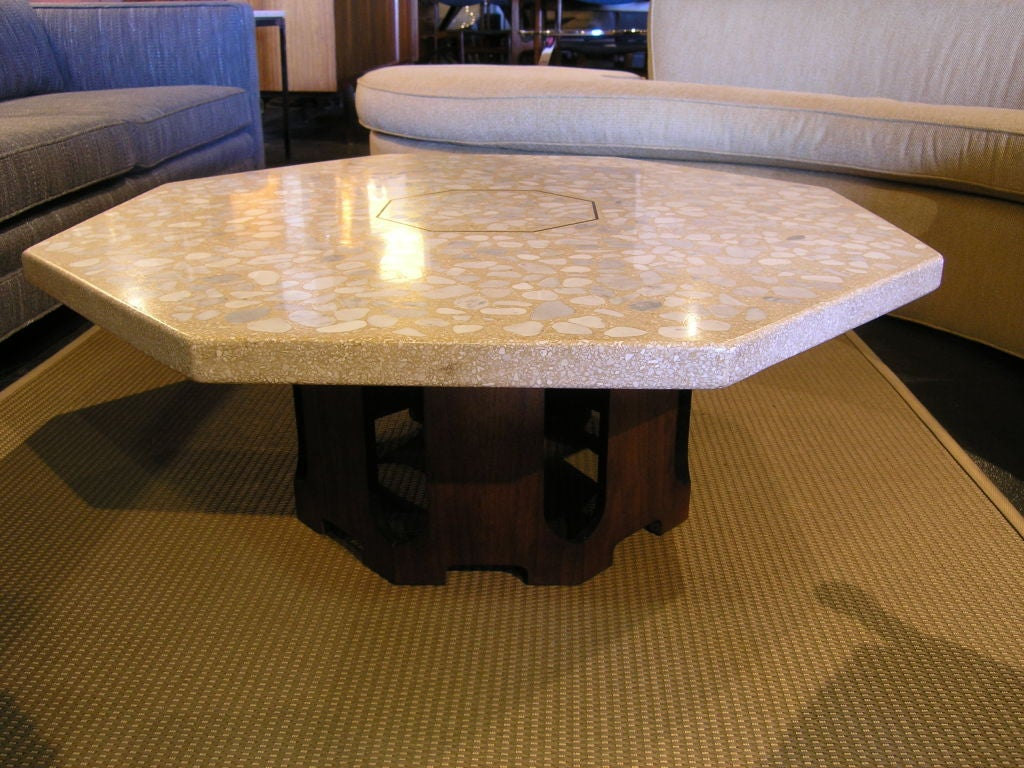 Octagonal Travertine And Marble Coffee Table By Harvey Probber At 1stdibs