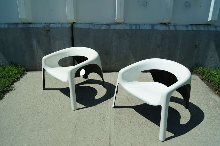 Pair Of Space Age Fiberglass Outdoor Chairs For Sale At