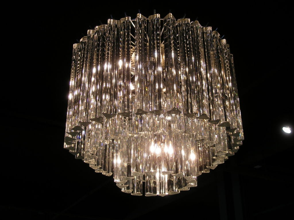 Three Tiered Crystal Murano Glass Chandelier By Venini At