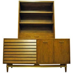 Walnut Sideboard with Hutch by Merton Gershun for American of Martinsville