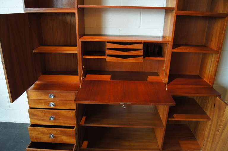 Modular Teak Storage Desk Wall Unit By Finn Juhl For Sale