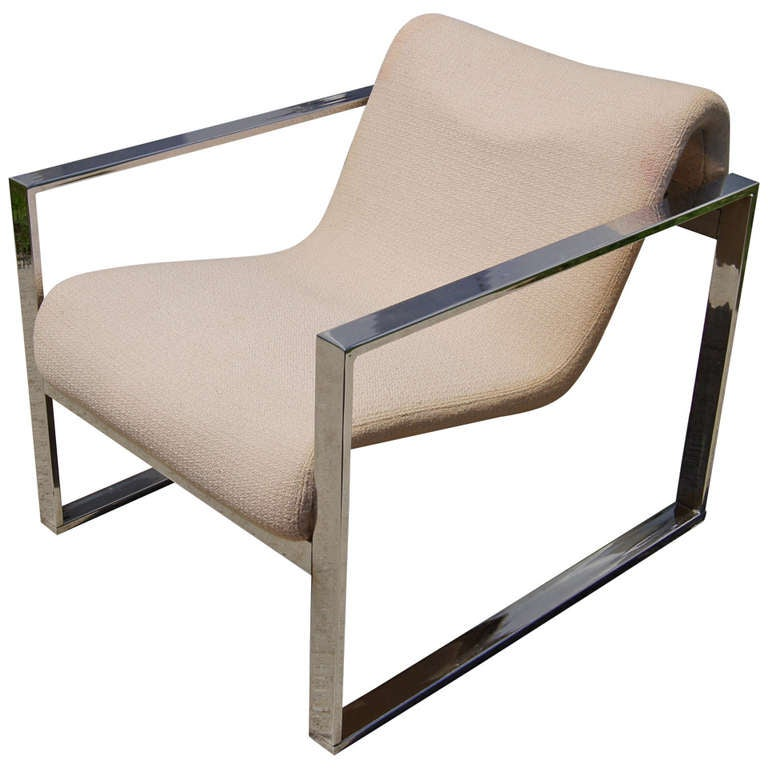 Chrome-Framed Club Chair after Milo Baughman for Pace