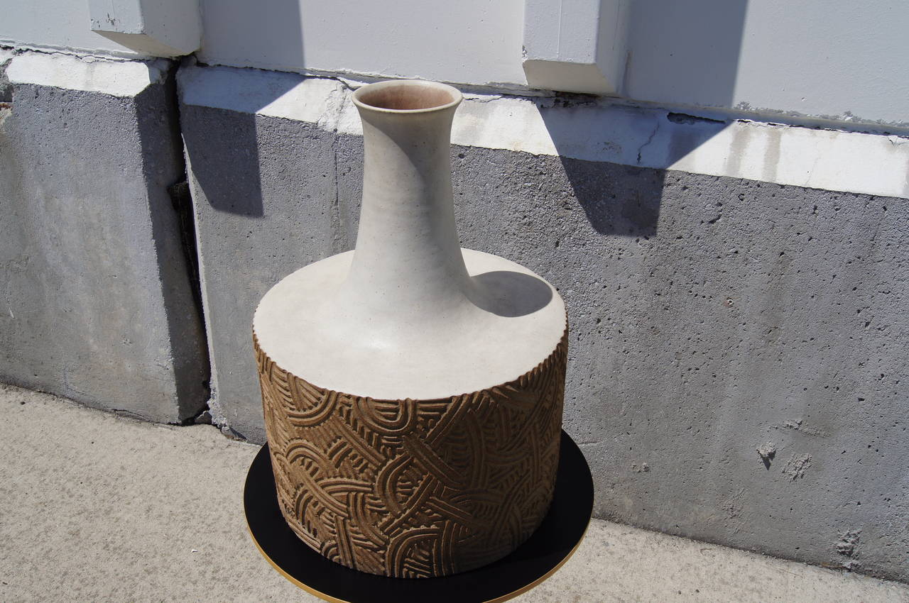 Italian Large Stoneware Vessel by Bruno Gambone For Sale