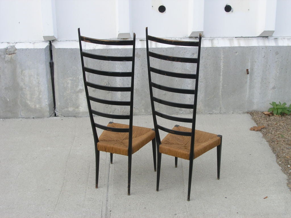 Pair Of Extra High Ladder Back Chairs After Gio Ponti At