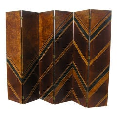 French 6 Panel Art Deco Screen by Jacques Challou