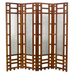 Four Panel Wood and Glass Folding Screen by Philip Aziz
