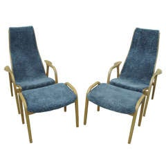 Pair of Lamino Armchairs and Ottomans by Yngve Ekstrom