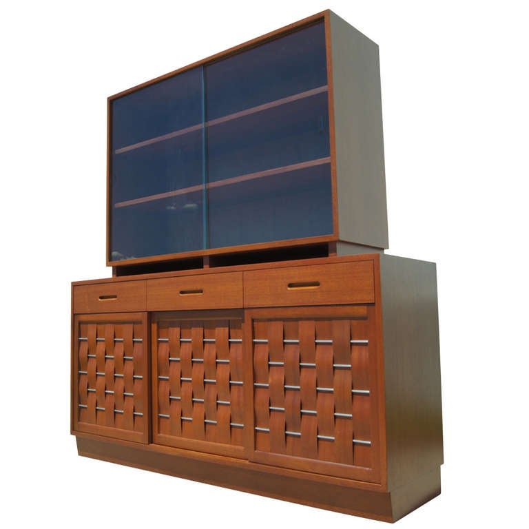 Woven-Front Mahogany Sideboard with Hutch by Edward Wormley for Dunbar