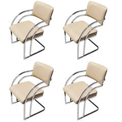 Set of Four Chrome Dining Chairs after Pace