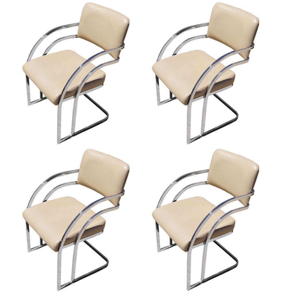 Set of Four Cantilevered Chrome Dining Chairs after Pace