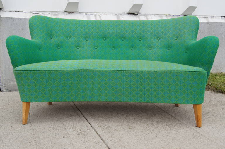 Small Scandinavian Modern Sofa by Carl Malmsten for O.H. Sjögren In Good Condition For Sale In Boston, MA