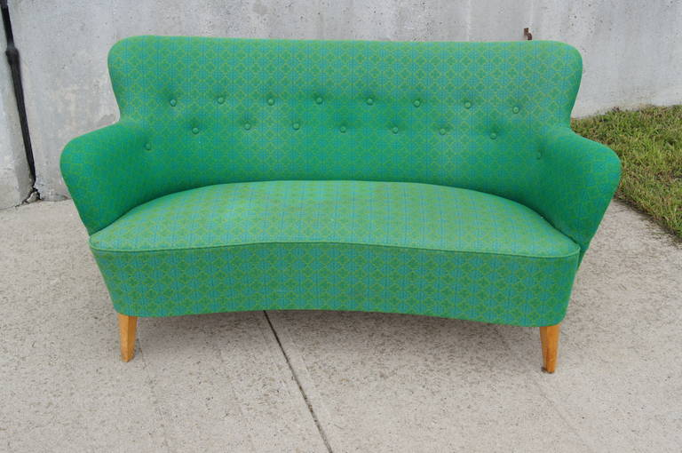 Mid-20th Century Small Scandinavian Modern Sofa by Carl Malmsten for O.H. Sjögren For Sale