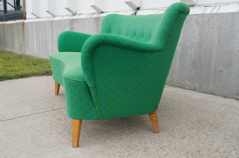 Upholstery Small Scandinavian Modern Sofa by Carl Malmsten for O.H. Sjögren For Sale