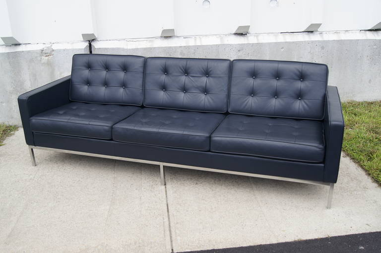 Mid Century Modern Deep Blue Leather Sofa By Florence Knoll For