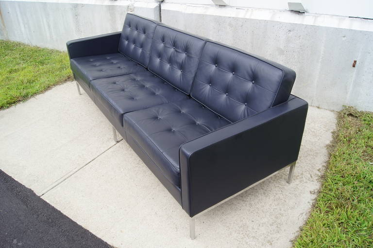 Deep Blue Leather Sofa by Florence Knoll at 1stdibs