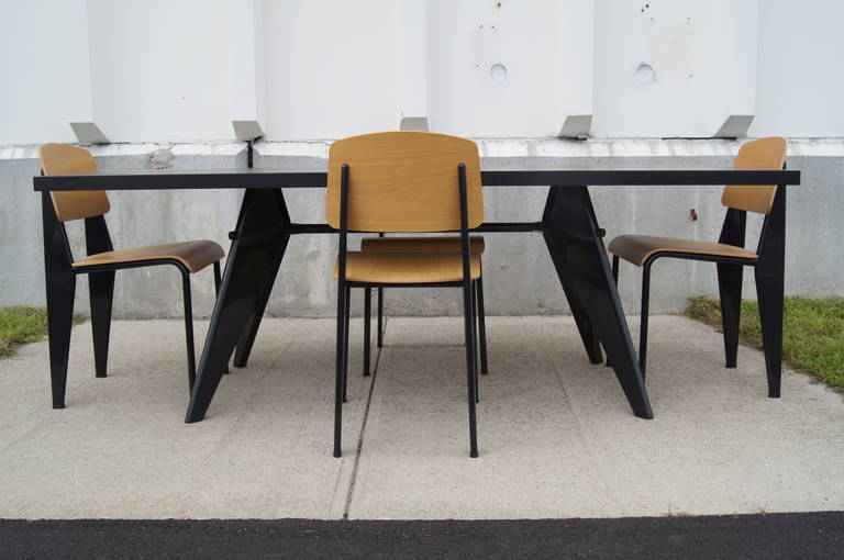 dining suite with em table and four standard chairs by jean prouv for vitra at 1stdibs. Black Bedroom Furniture Sets. Home Design Ideas