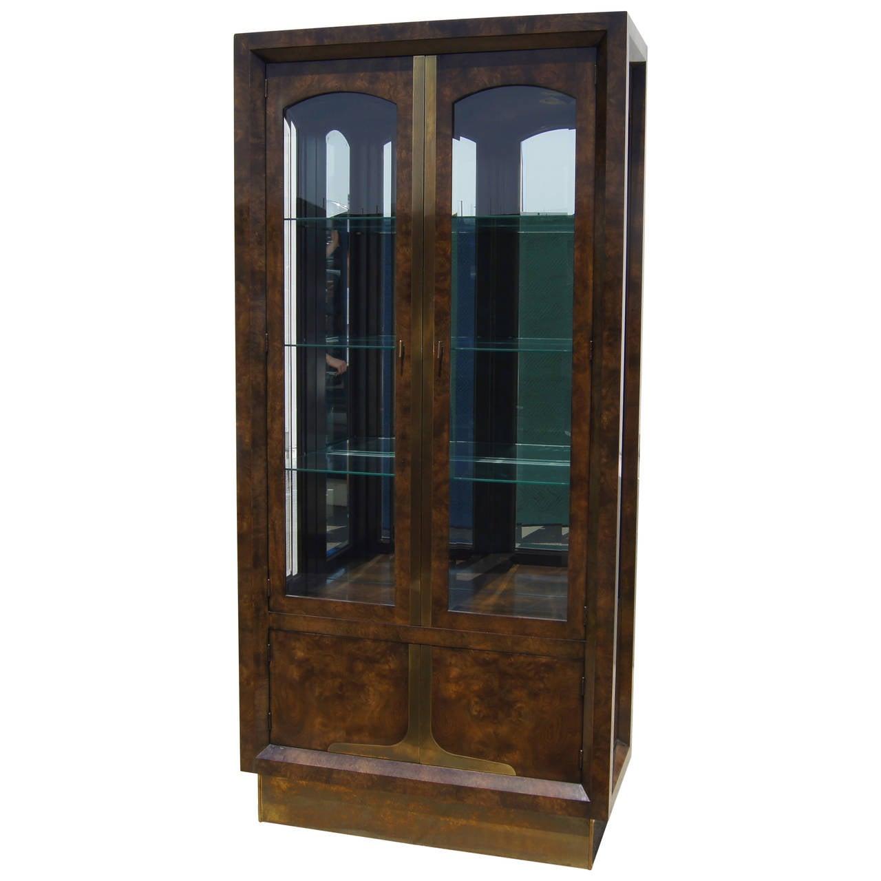 Tall Amboyna Wood and Brass Cabinet by William Doezema for Mastercraft