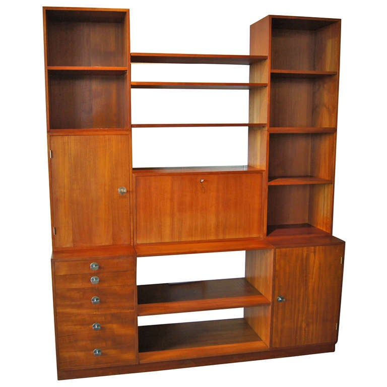 Modular Teak Storage Desk Wall Unit By Finn Juhl At 1stdibs