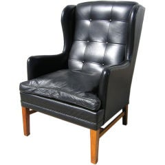 Leather Armchair attributed to Fritz Hansen or Henningsen