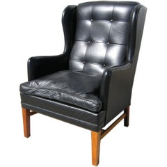 Danish Modern Leather Wingback Chair, Attributed to Fritz Hansen