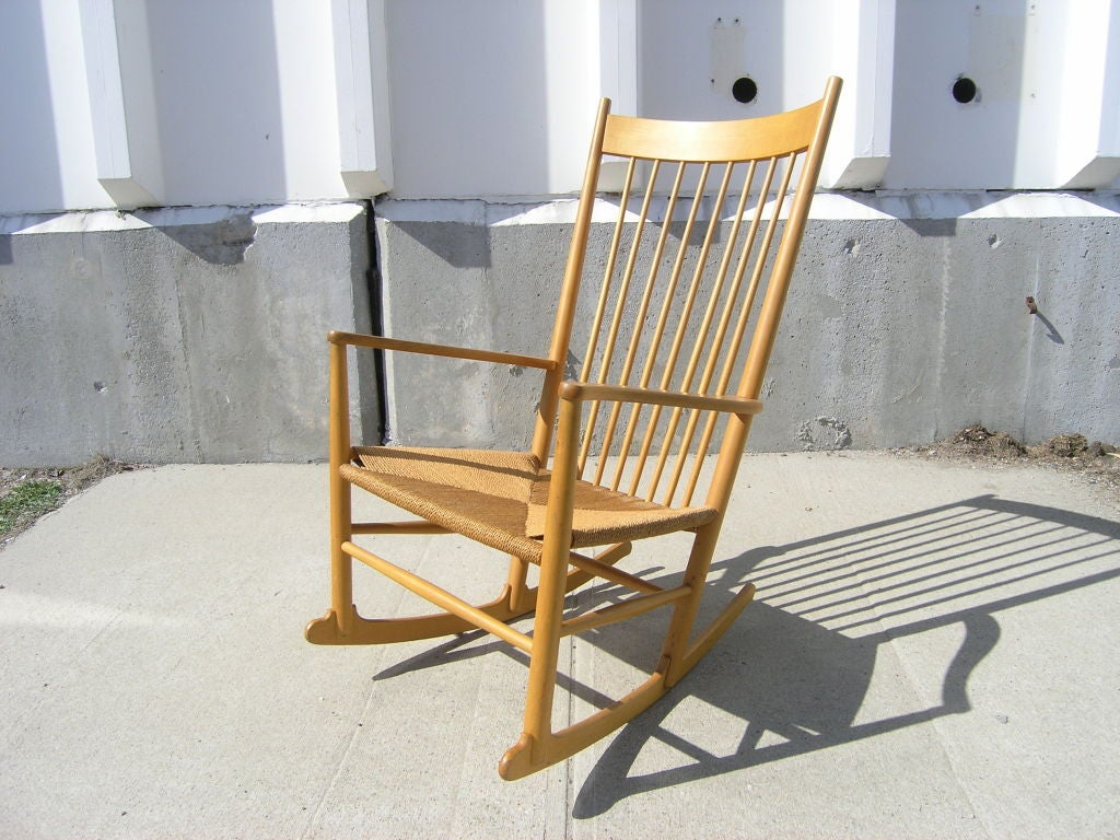Oak and Paper Cord J16 Rocking Chair by Hans Wegner at 1stdibs