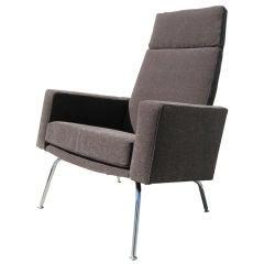 Danish Modern High-Back Armchair with Chrome Legs