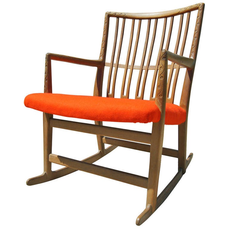 Rare early ml oak rocking chair with carvings by hans