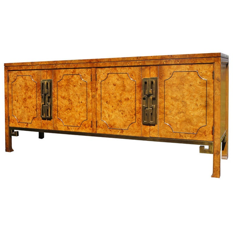 Burl Wood Buffet Sideboard By Mastercraft At 1stdibs