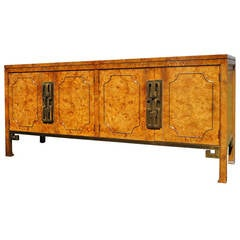 Brass-Trimmed Amboyna Burl Credenza or Sideboard by Mastercraft