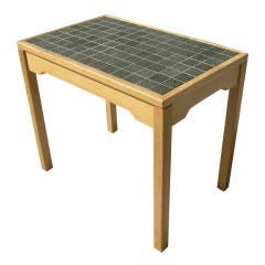 Oak Side Table with Green Tiles by Hans Wegner for GETAMA