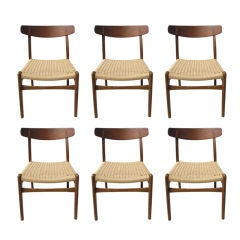 Set of Six Teak and Paper Cord Dining Chairs by Hans Wegner