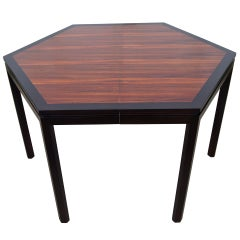 Hexagonal Rosewood Dining Table with Extensions by Edward Wormley for Dunbar