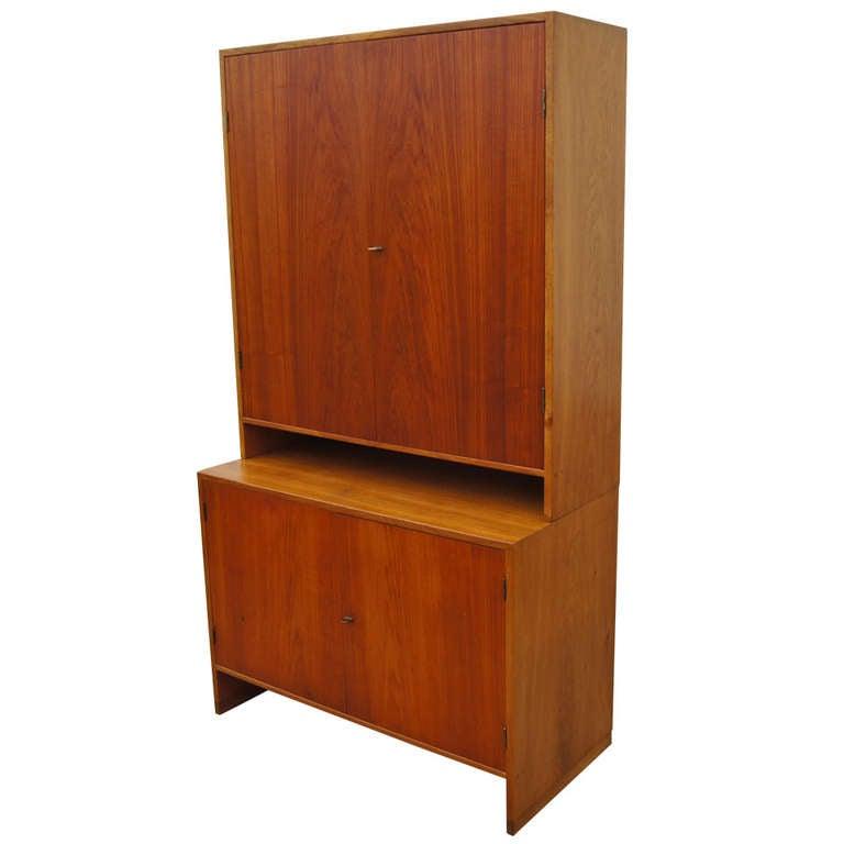 Tall Teak and Oak Cabinet by Hans Wegner