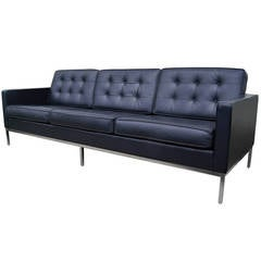 Deep Blue Leather Sofa by Florence Knoll