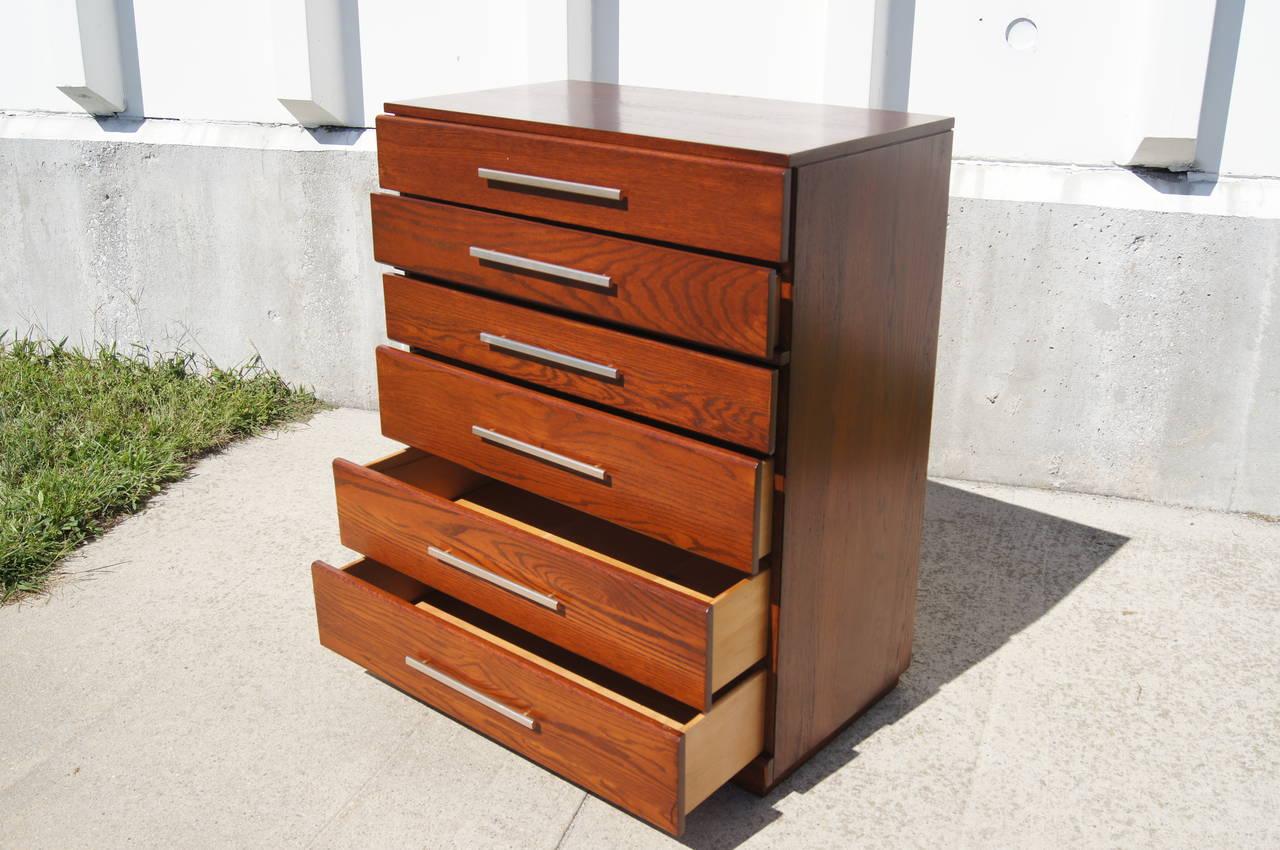 Mid-Century Modern High Oak Dresser by Raymond Loewy for Mengel For Sale