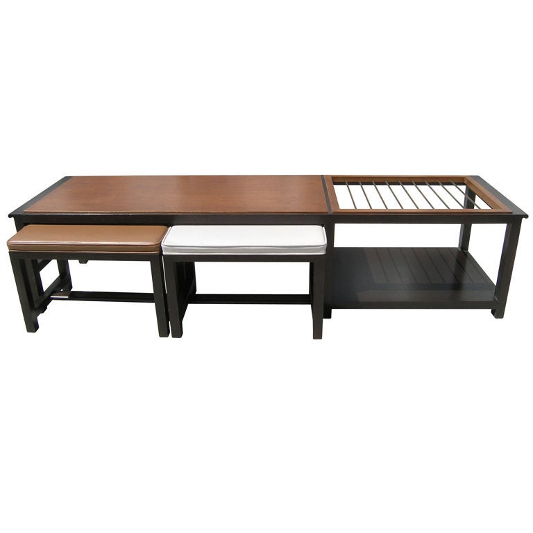 Coffee Table With Magazine Rack And Stools By Wormley For Dunbar At 1stdibs