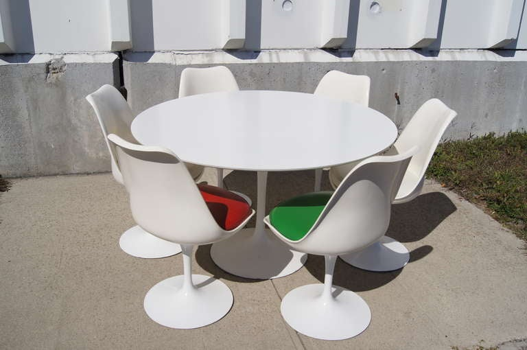 """48"""" Tulip Dining Table and Six Chairs by Saarinen for"""