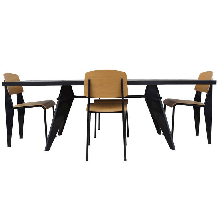 Dining suite with em table and four standard chairs by - Jean prouve chaise standard ...