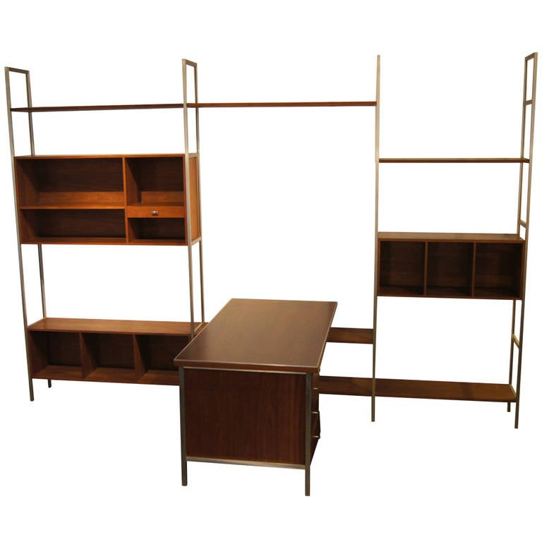 Walnut Modular Wall Shelving System With Desk By Paul