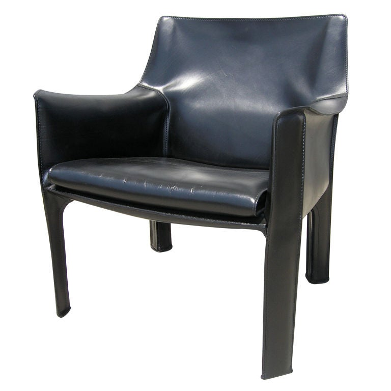 Black Leather Cab 414 Chair By Mario Bellini For Cassina