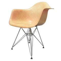 Rope Edge Fiberglass Shell Chair with Eiffel Tower Base by Eames